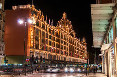 Harrods at night in London Stock Photos