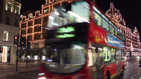 Harrods night stock video footage