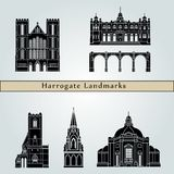 Harrogate landmarks and monuments isolated on blue background stock illustration