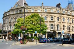 Harrogate town centre. Harrogate central shopping town centre in Harrogate, Yorkshire, UK Stock Photos