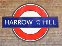 Harrow on the Hill station London Underground Metropolitan railway roundel sign royalty free stock images