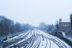 Harrow on the hill train station covered in snow Royalty Free Stock Photography