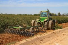 Arizona: Agriculture - Harrowing Cotton Fields  Stock Image