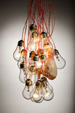 A harrowing peace. Several lightbulbs hanging in a bunch with a chicken leg Royalty Free Stock Photos
