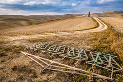 Harrows on a brown field in Tuscany at autumn Royalty Free Stock Images