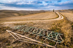 Harrows on a brown field in Tuscany at autumn Royalty Free Stock Photos
