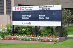Harry Hays Building signage. Government of Canada - Harry Hays Building signage in Calgary Alberta Stock Images