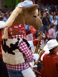 Harry the Horse. The mascot for the Calgary Stampede, performing with the Calgary Stampede Showband at the 2014 Calgary Exhibition and Stampede Royalty Free Stock Photo
