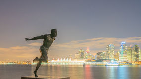 Harry Jerome Monument and city night view stock photo