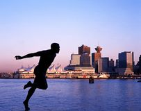 Harry Jerome Statue and Canada Place, Vancouver. Stock Images