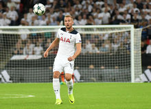 Harry Kane. Football players pictured during the 2016/17 UEFA Champions League Group E game between Tottenham Hotspur and AS Monaco on September 14, 2016 at Royalty Free Stock Photos