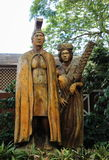 Harry and Mary Lake Statue. Located at the Tropical Farms Macadamia Nut Outlet, Kahalu`u, Oahu, Hawaii Stock Images