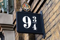 Harry Poter 9 kr?lewi?tek 3/4 Krzy?uje stacj? obrazy stock