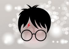 Harry Potter cartoon icon, minimal style vector. Vector isolated or Blurry background circles stock illustration
