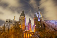 Harry Potter Castle in Universal Orlando at night, FL, USA. Harry Potter Castle in the Wizarding World of Harry Potter in Universal Orlando, Florida, USA royalty free stock photography