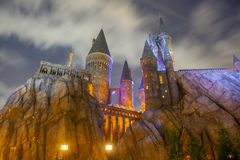 Harry Potter Castle in Universal Orlando at night, FL, USA. Harry Potter Castle in the Wizarding World of Harry Potter in Universal Orlando, Florida, USA stock photo
