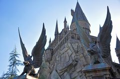 Harry Potter Castle in Universeel Orlando, Florida, de V.S. royalty-vrije stock foto