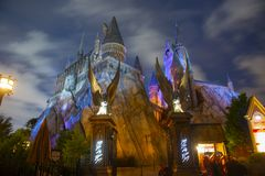 Harry Potter Castle in Universal Orlando at night, FL, USA. Harry Potter Castle in the Wizarding World of Harry Potter in Universal Orlando, Florida, USA royalty free stock photos