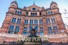 Harry Potter and the Cursed Child. London, England - 9 April 2017 - Harry Potter And The Cursed Child theatre sign displays in front of the theater bulding in Stock Images