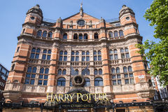 Harry Potter and the Cursed Child at the Palace Theatre. LONDON, UK - JUNE 14TH 2017: A view of the front entrance to the Palace Theatre promoting its play Harry Stock Photo