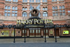 Harry Potter Cursed Child. The Palace Theatre in London West End with advertisement for the new play Harry Potter and the Cursed Child Stock Images