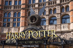 Harry Potter and the Cursed Child Show. LONDON, UK - JUNE 14TH 2017: A view of the front entrance to the Palace Theatre promoting its play Harry Potter and the Stock Photos
