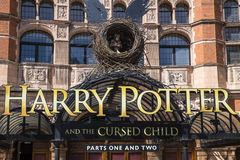 Harry Potter and the Cursed Child Show. LONDON, UK - JUNE 14TH 2017: A view of the front entrance to the Palace Theatre promoting its play Harry Potter and the Royalty Free Stock Images