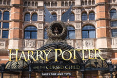 Harry Potter and the Cursed Child Show. LONDON, UK - JUNE 14TH 2017: A view of the front entrance to the Palace Theatre promoting its play Harry Potter and the Stock Photo