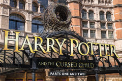 Harry Potter and the Cursed Child Show. LONDON, UK - JUNE 14TH 2017: A view of the front entrance to the Palace Theatre promoting its play Harry Potter and the Stock Image