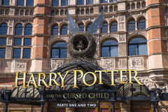 Harry Potter and the Cursed Child Show. LONDON, UK - JUNE 14TH 2017: A view of the front entrance to the Palace Theatre promoting its play Harry Potter and the Royalty Free Stock Photo