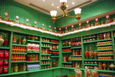 Harry Potter Honeydukes. Wall of candy behind the counter in Honeydukes at Hogsmeade, the Wizarding World of Harry Potter, Universal Resort Orlando Stock Photo