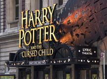 Harry Potter Marquee on Broadway. This photo was taken on March 24, 2018, 8 days after the play `Harry Potter And The Cursed Child` opened for previews at the Royalty Free Stock Photography