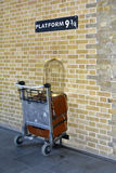 Harry Potter Platform nine and three quarters and trolley Stock Images