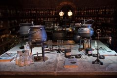 Harry Potter potion room display. LEAVESDEN, UK - FEBRUARY 24TH 2018: Potion room display at the Making of Harry Potter tour at Warner Bros studio in Leavesden stock photo