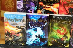 Harry Potter shop. WINDSOR, ENGLAND - JULY 21, 2016: Books about Harry Potter in a shop in Windsor. Harry Potter is fictional character created by Joanne K royalty free stock photography