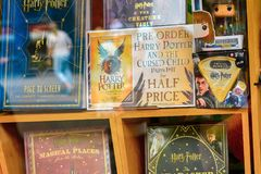 Harry Potter shop. WINDSOR, ENGLAND - JULY 21, 2016: Books about Harry Potter in a shop in Windsor. Harry Potter is fictional character created by Joanne K Royalty Free Stock Image