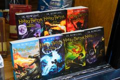 Harry Potter shop. WINDSOR, ENGLAND - JULY 21, 2016: Books about Harry Potter in a shop in Windsor. Harry Potter is fictional character created by Joanne K stock photos