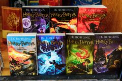 Harry Potter shop. WINDSOR, ENGLAND - JULY 21, 2016: Books about Harry Potter in a shop in Windsor. Harry Potter is fictional character created by Joanne K stock photography