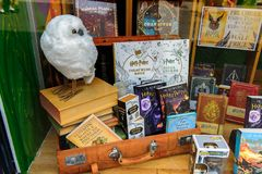 Harry Potter shop. WINDSOR, ENGLAND - JULY 21, 2016: Books about Harry Potter in a shop in Windsor. Harry Potter is fictional character created by Joanne K Royalty Free Stock Photos