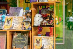 Harry Potter shop. WINDSOR, ENGLAND - JULY 21, 2016: Books about Harry Potter in a shop in Windsor. Harry Potter is fictional character created by Joanne K Royalty Free Stock Images