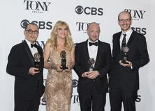 Harry Potter Winners at 2018 Tony Awards. Producers Colin Callender and Sonia Friedman , director John Tiffany, and author Jack Horne arrive in the media room of Royalty Free Stock Images