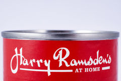 Harry Ramsdens Logo. LONDON, UK - JULY 7TH 2017: A close-up of the Harry Ramsdens company logo on one of their tinned food products, on 7th July 2017 Royalty Free Stock Images