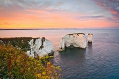 Harry Rocks idoso em Dorset. Imagem de Stock