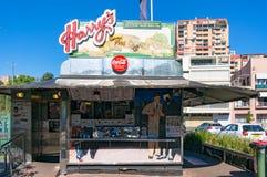 Harrys Cafe de Wheels, vendedor icónico de la empanada del contador-servicio Imagenes de archivo