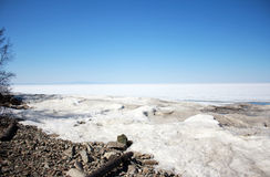 The harsh climate of lake Baikal. Asia, Russia, lake Baikal is the deepest lake in the world, long thaws. The harsh climate of this region - the end of the Royalty Free Stock Photo