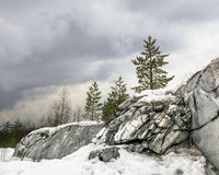 Harsh northern Misty landscape. Ruskeala marble quarries in Kare. Lia, Russia in winter royalty free stock image