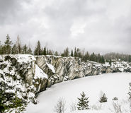 Harsh northern Misty landscape. Ruskeala marble quarries in Kare Stock Image