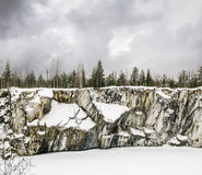 Harsh northern Misty landscape. Ruskeala marble quarries in Kare Royalty Free Stock Images