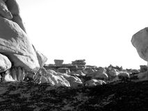 Harsh Rock. Ancient rock formations in the badlands of New Mexico royalty free stock images