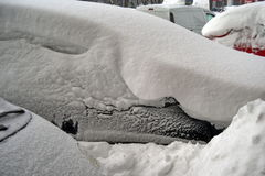 Harsh winter with snow in Bucharest, capital of Romania Royalty Free Stock Photos